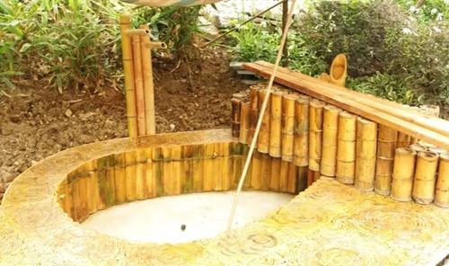 用竹子做的墙,垃圾桶,你见过么?